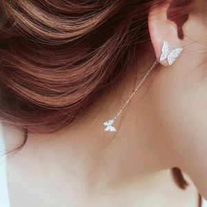 Butterfly Silver Earrings- Wear 2 Different Ways